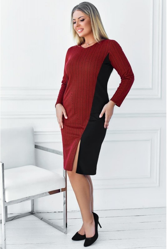 комбинированное платье, платье с разрезом